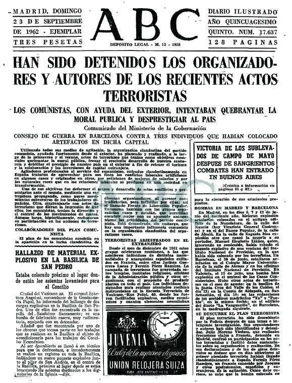 ABC informando de la detención de los supuestos autores de la campaña de atentados (23 de septiembre de 1962)