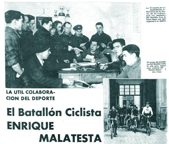 El Batallón Ciclista Malatesta ( Mundo Gráfico , marzo de 1937)