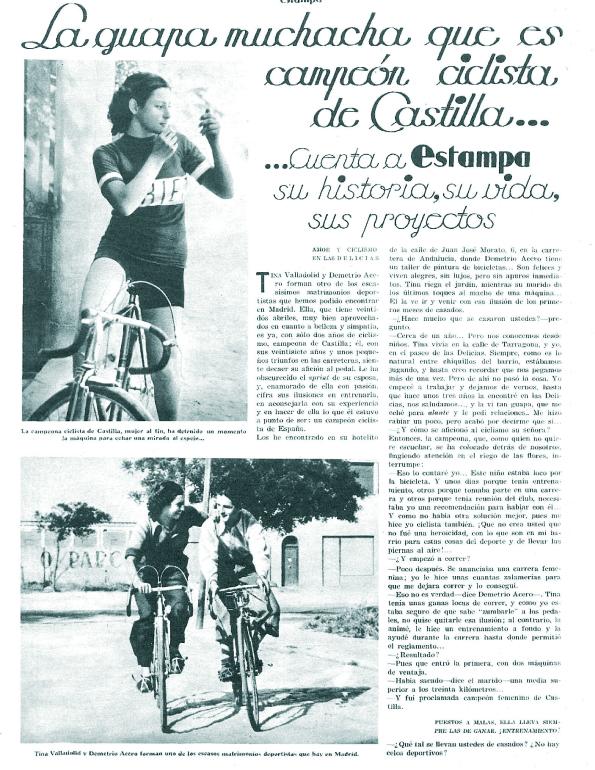 Tina, ciclista del Velo Club Portillo ( Estampa , 4 de julio de 1936)