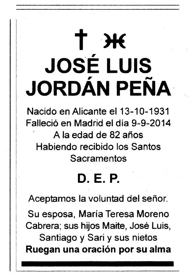 Esquela de José Luis Jordán Peña con el símbolo ummita junto a la cruz cristiana