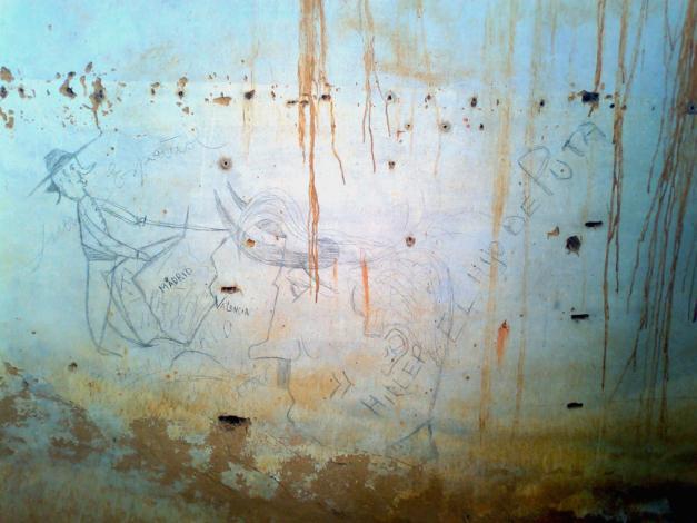 Grafiti aparecido en Casa de la Sierra, Don Benito (Badajoz). Fotografía: Blog Arqueología de la Guerra Civil Española