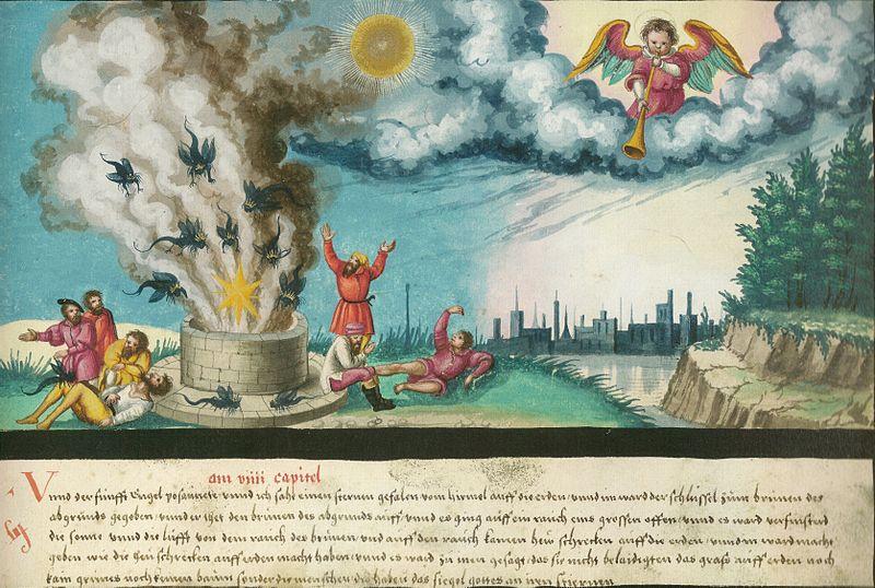 Augsburger_Wunderzeichenbuch_—_Folio_182_Der_fünfte_Engel_bläst_seine_Posaune.jpg