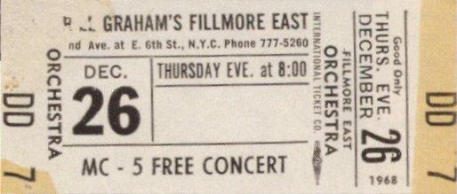 Concierto gratuito, por las presiones de los Motherfuckers, de MC5 en el Fillmore (26 de diciembre de 1968)