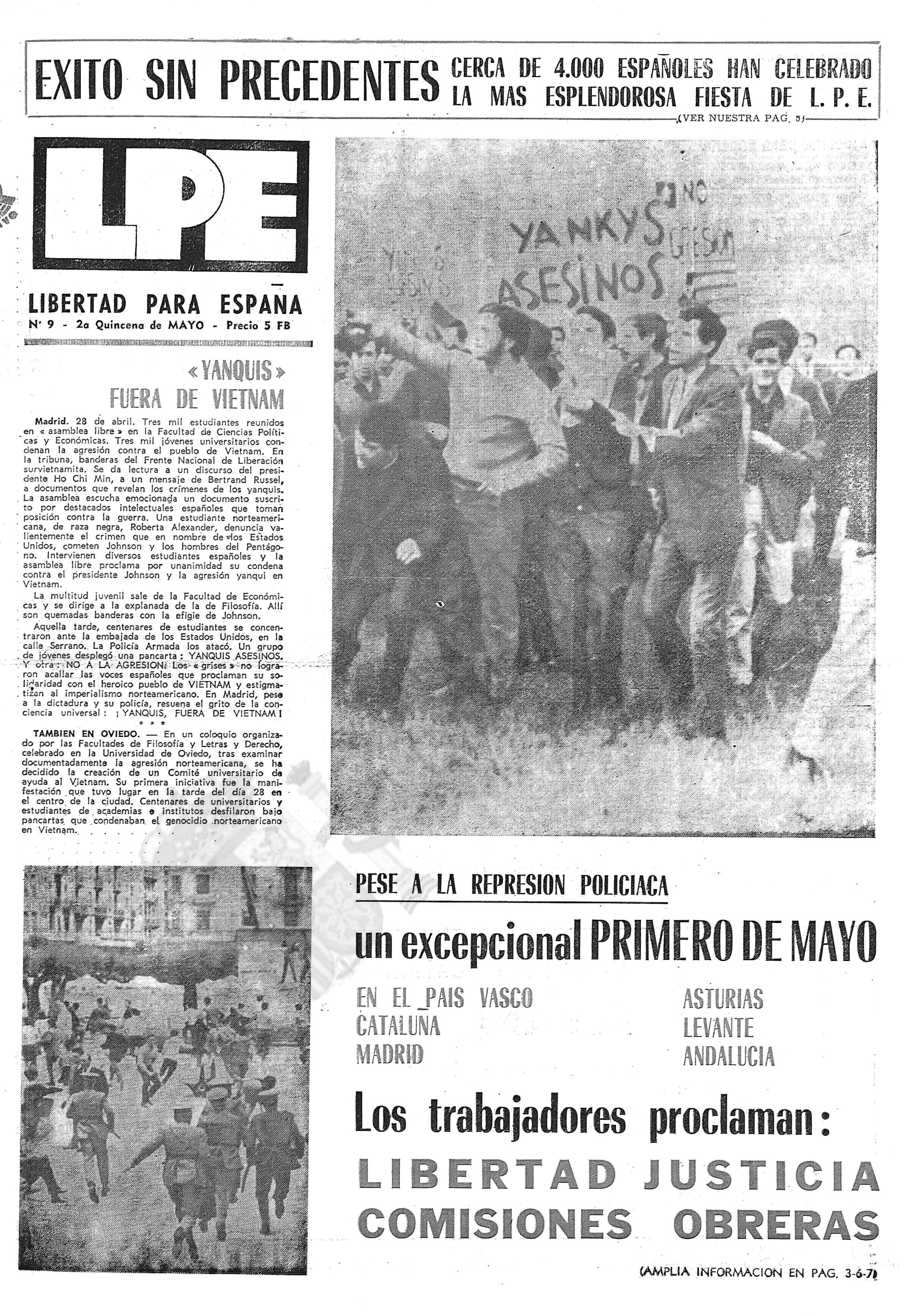Las protestas en la prensa comunista española en el exilio. Arriba, los estudiantes (algunos con el rostro cubierto) se manifiestan. Abajo, cargas de los agentes disolviendo la marcha ( LPE , 15 de mayo de 1967)