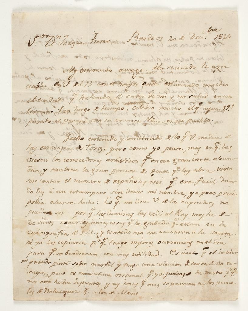 Carta de Goya a Joaquín Ferrer (20 de diciembre de 1825)