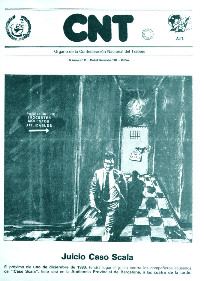 Portada del periódico de CNT de noviembre de 1980 dedicado al caso Scala