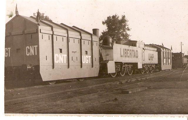 Un tren blindado construido por los obreros de los talleres Devis y de la Central de Aragón