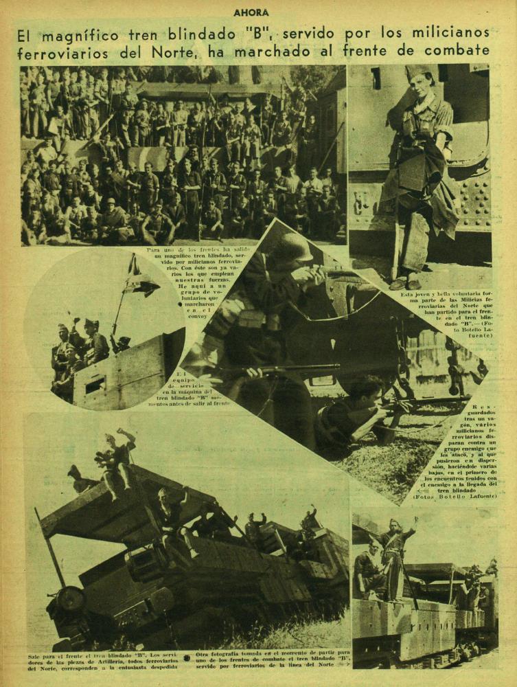 El tren blindado de las Milicias Ferroviarias del Norte ( Ahora , 3 de septiembre de 1936)
