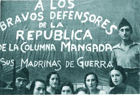 Pancarta realizada por mujeres madrileñas en honor de los combatientes de la Columna Mangada ( Estampa , 5 de septiembre de 1936)