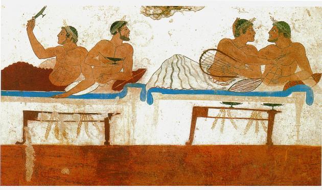 Pintura etrusca representando a un grupo de amantes en un banquete (Prenestre)