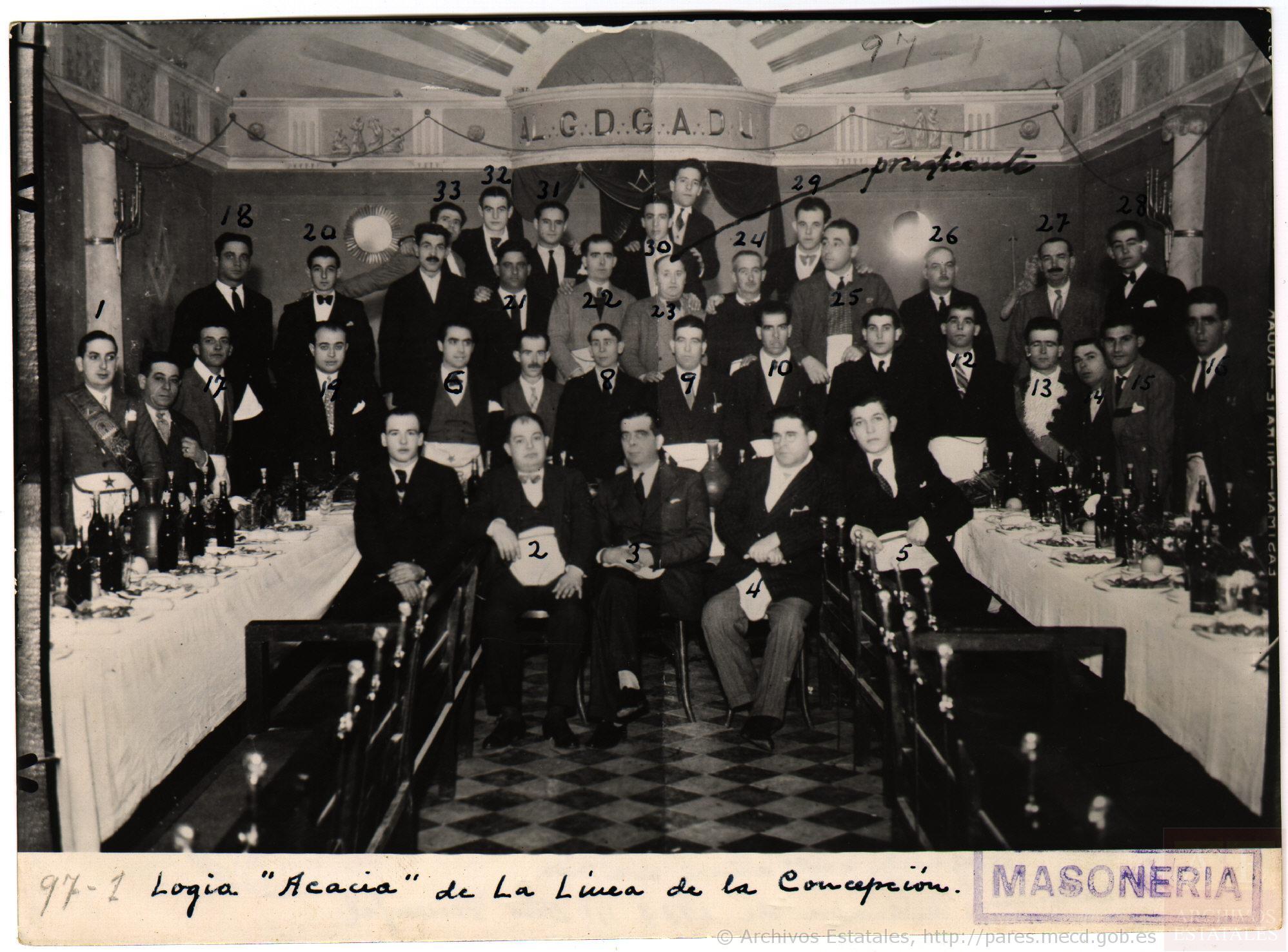 Logia Acacia de la Línea de la Concepción (1938). Archivos Estatales de la Administración