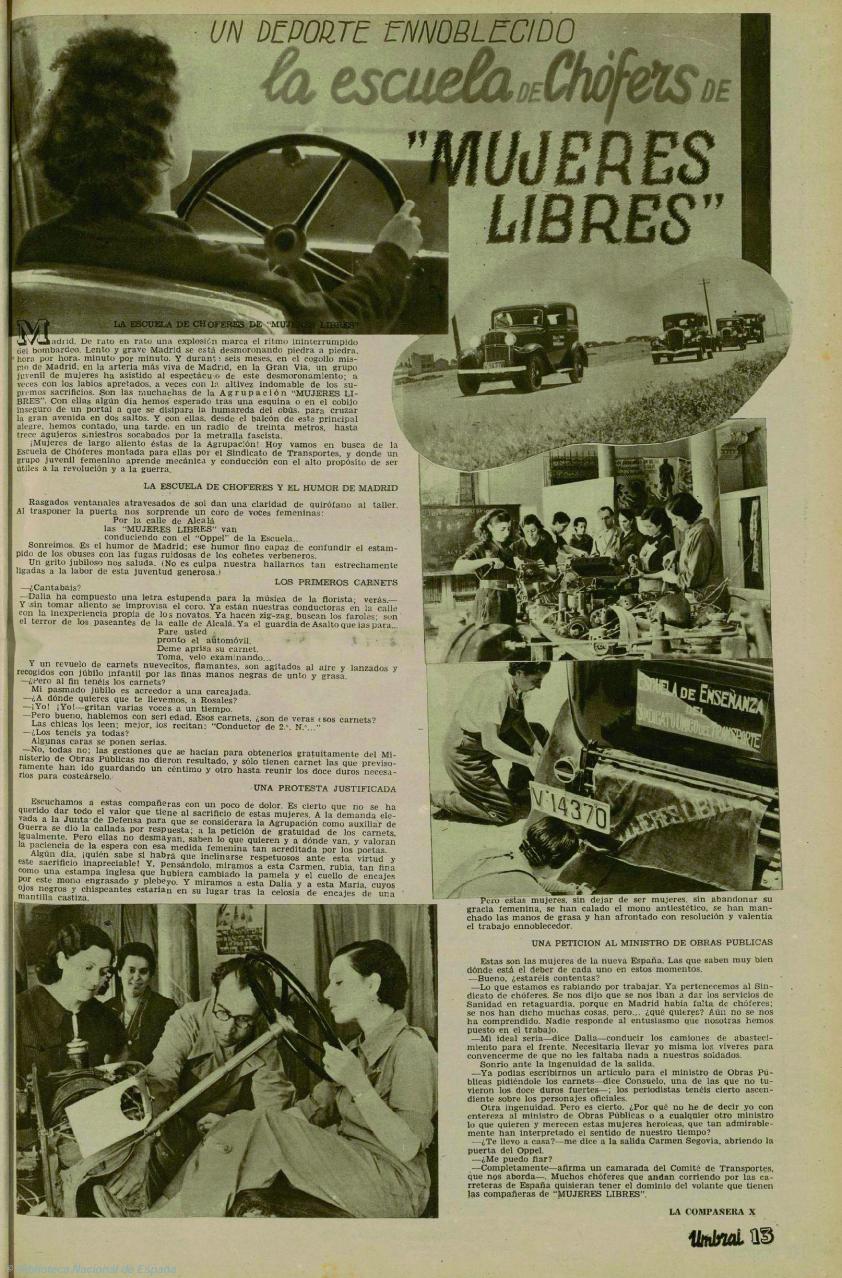 La entrevista con las chicas de la Escuela de Chóferes de Mujeres Libres en  Umbral  (24 de julio de 1937)