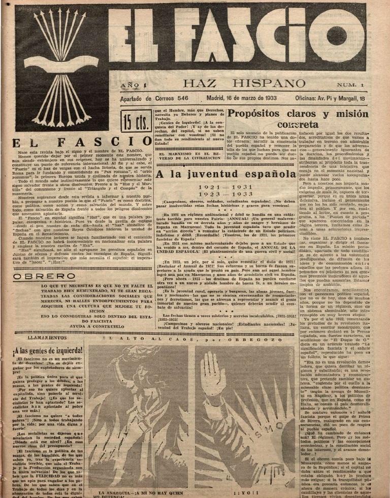 Primer y único número de  El Fascio  (1933)