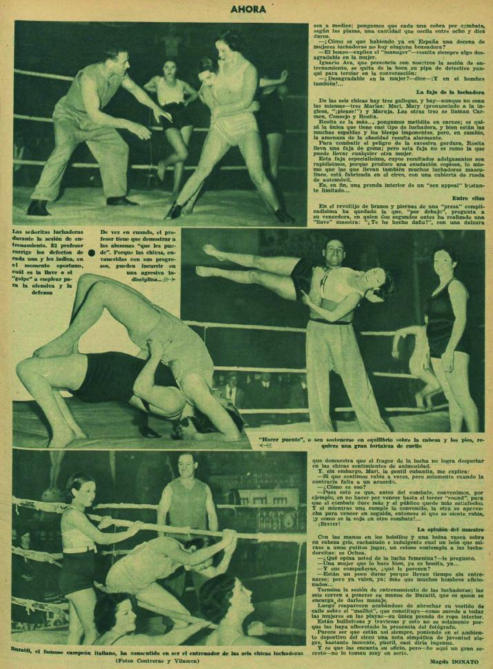Reportaje de mujeres luchadoras españolas ( Ahora , 24 de marzo de 1935)