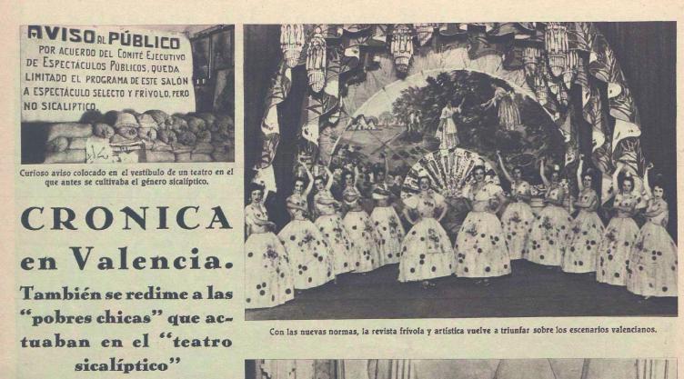 A la izquierda, en lo alto, cartel prohibiendo el género sicalíptico (Crónica, 13 de diciembre de 1936)