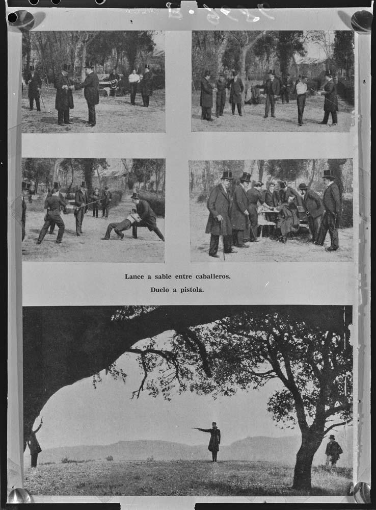 Escenas de un duelo [Lámina de una publicación donde se reproducen varios episodios de afrentas a sable y pistola] . COLECCIÓN PANDO BARRERO.