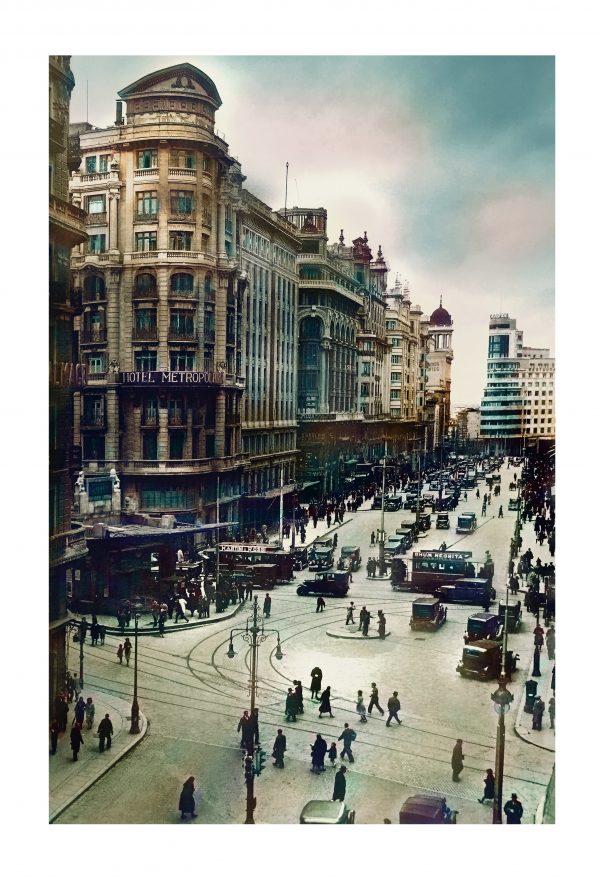 Gran Vía, Madrid. Años 30. Coloreada