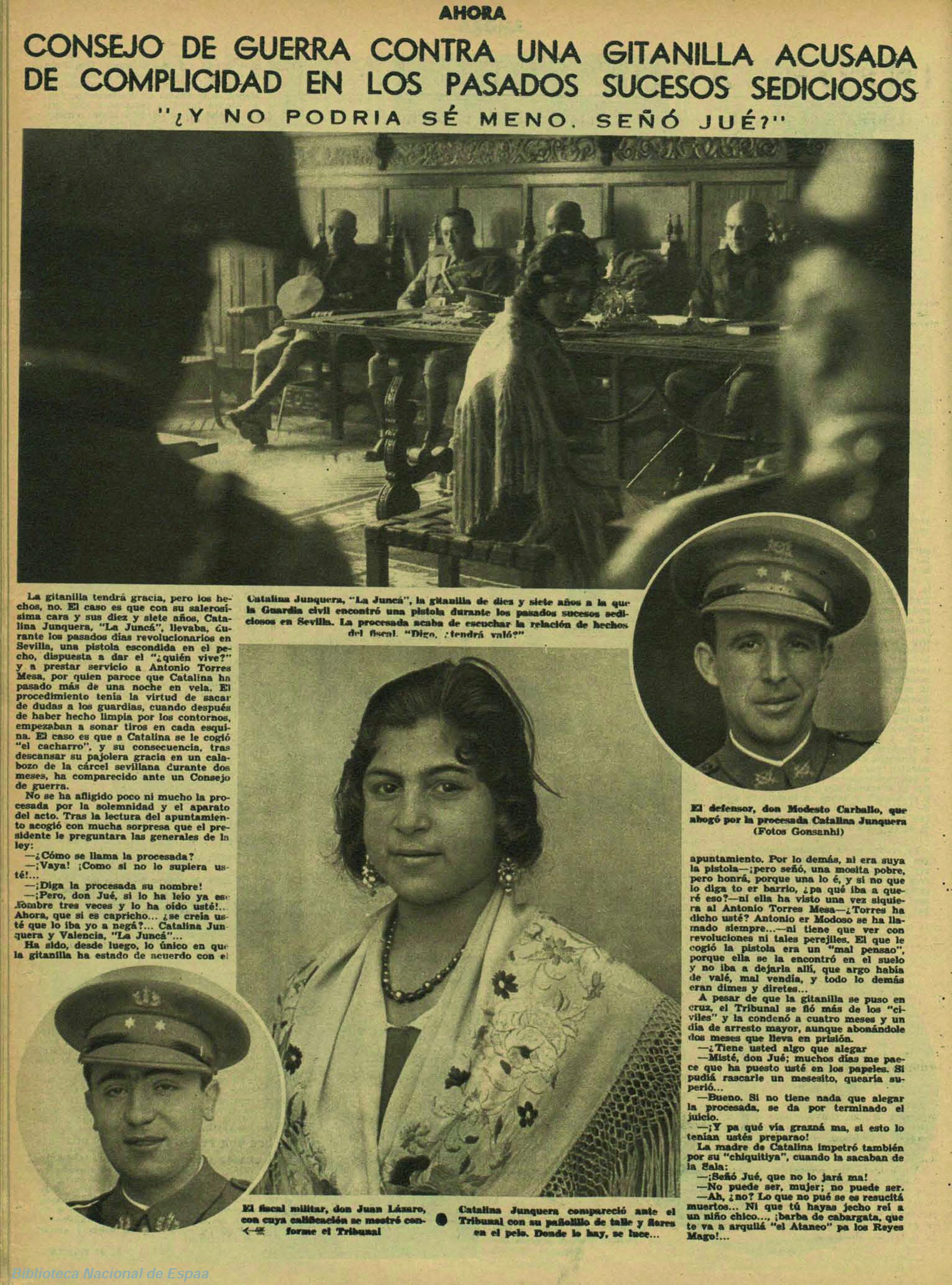 Reportaje sobre La Junca en  Ahora  (30 de noviembre de 1934)