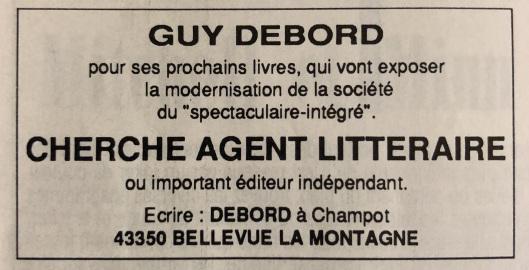 Anuncio clasificado publicado en  The Times  en el que Debord se anuncia como agente literario (1991)