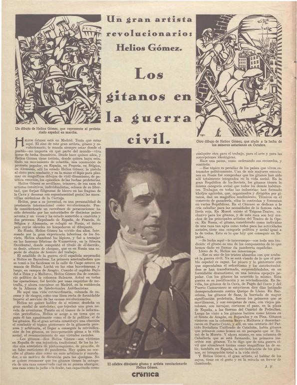 Reportaje en Crónica dedicado a Helios Gómez (18 de octubre de 1936)