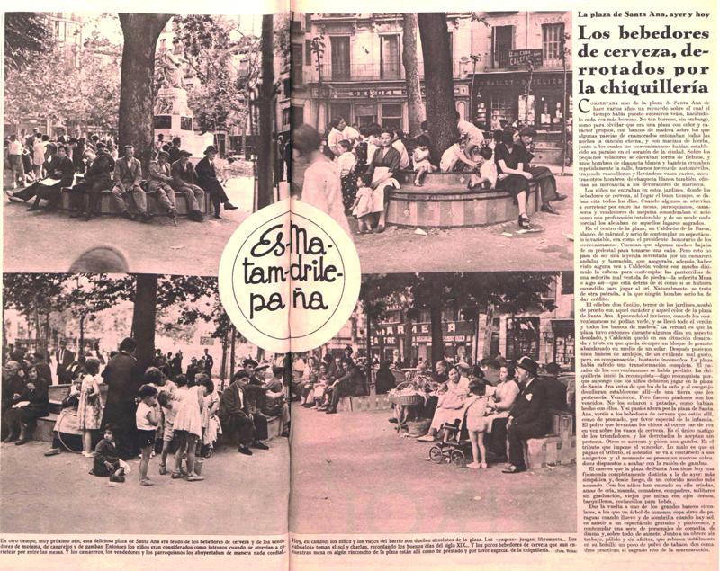 Reportaje sobre la plaza de Santa Ana y los «cervezómanos» (17 de junio de 1935,  Crónica )