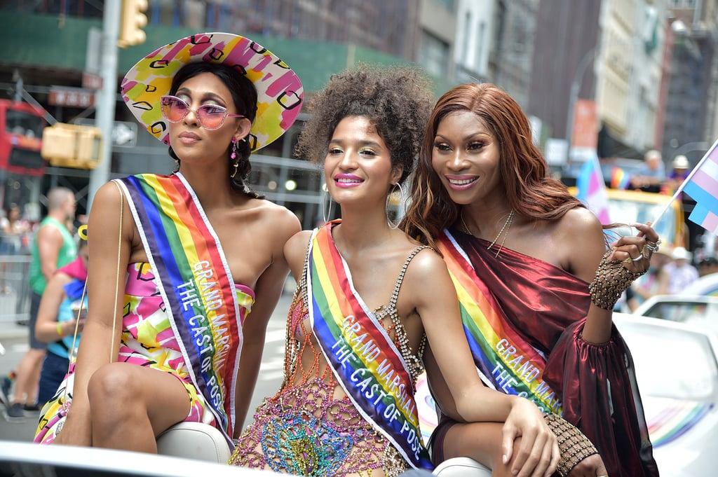 MJ Rodríguez, Indya Moore y Dominique Jackson en el último Pride Parade de NYC (Getty /Theo Wargo)