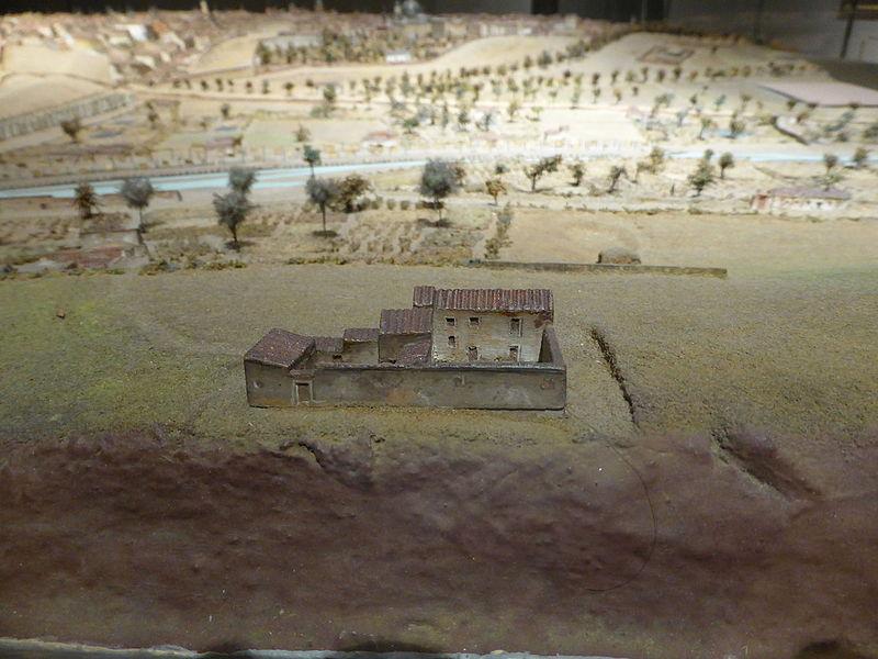 Casa de la Quinta de Goya, desde atrás. Maqueta de Madrid de León Gil de Palacio, empezada en 1828