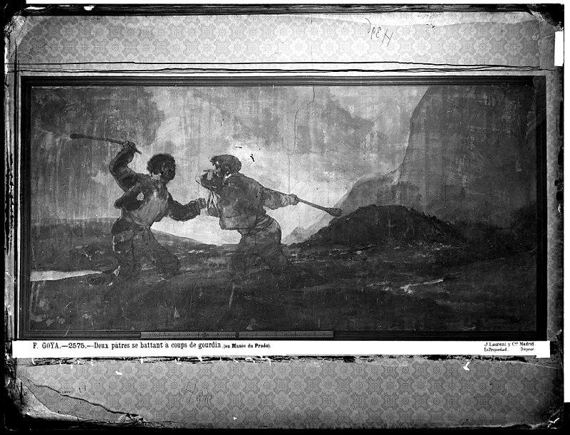 Pintura mural  Duelo a garrotazos , cuando estaba en la antigua casa de Goya, según fotografía de J. Laurent en el año 1874
