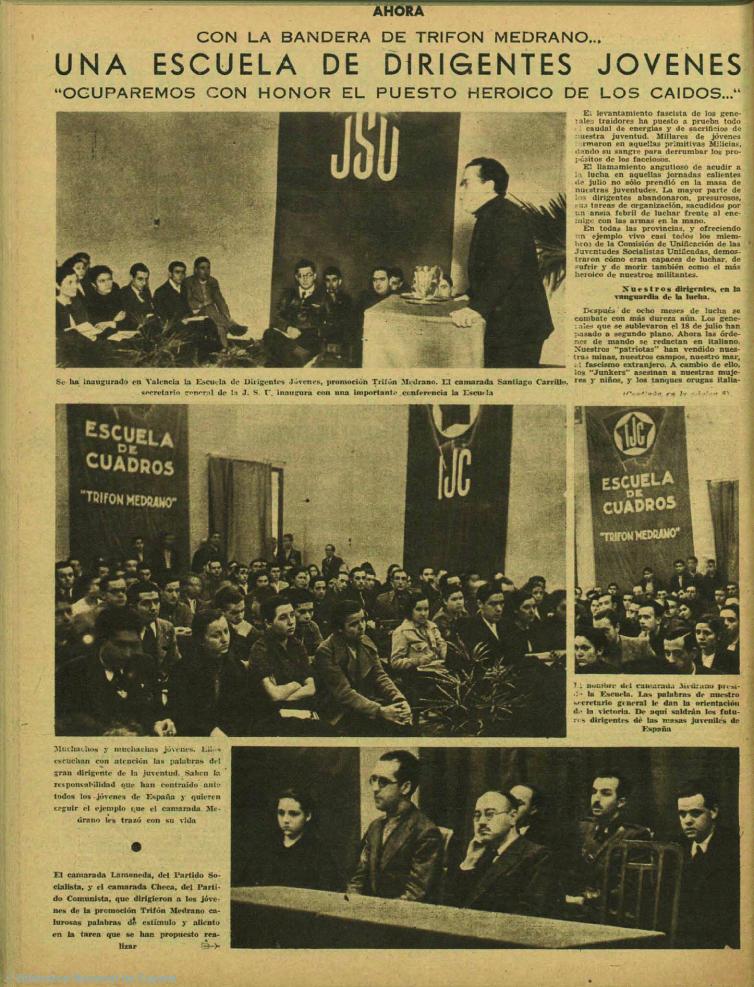 Reunión de la Escuela Trifón Medrano como homenaje a su figura ( Ahor a, 25 de marzo de 1937)