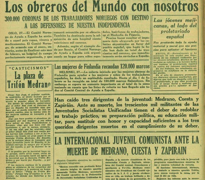 A la izquierda, la noticia de la plaza Trifón Medrano y la polémica «casticista» ( Ahora , 28 de febrero de 1937)