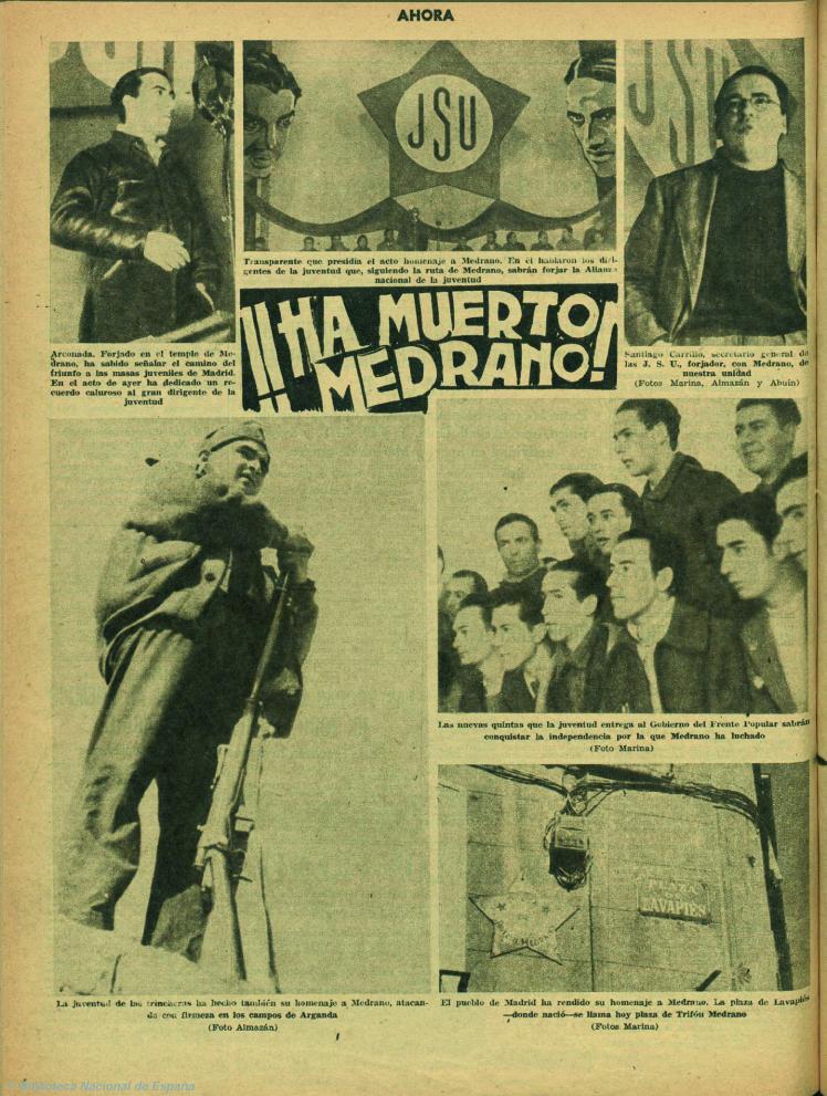 Noticia de la muerte de Medrano y fotografía de la placa en la plaza de Lavapiés