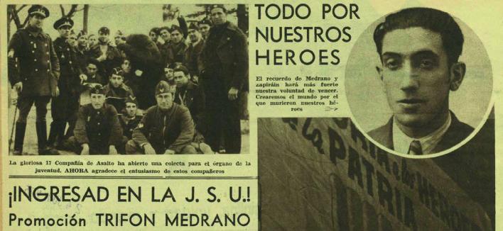 Noticia y fotografía de Medrano, convertido en símbolo antifascista ( Ahora , 3 de marzo de 1937)