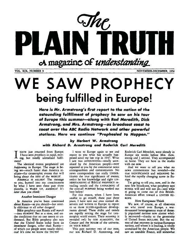 Portadas de  The Plain Truth,  la revista de Armstrong en la que colaboraba Wolverton