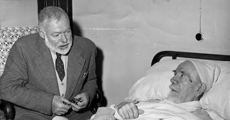 Hemingway junto a Baroja (9 de octubre de 1956)