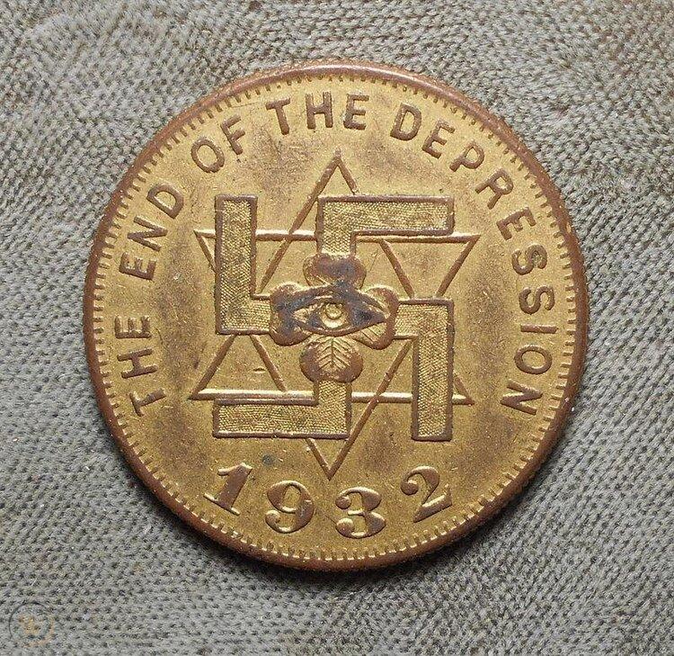 Moneda acuñada en 1932 para celebrar el final de la Depresión