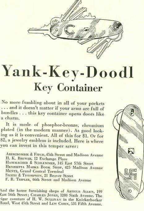 Las llaves se encuentran mejor si llevan una esvástica. Anuncio en  The New Yorker  (1928)