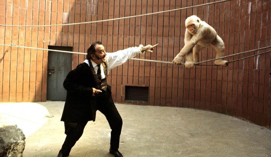 Dalí y Copito de Nieve fotografiados por Postius