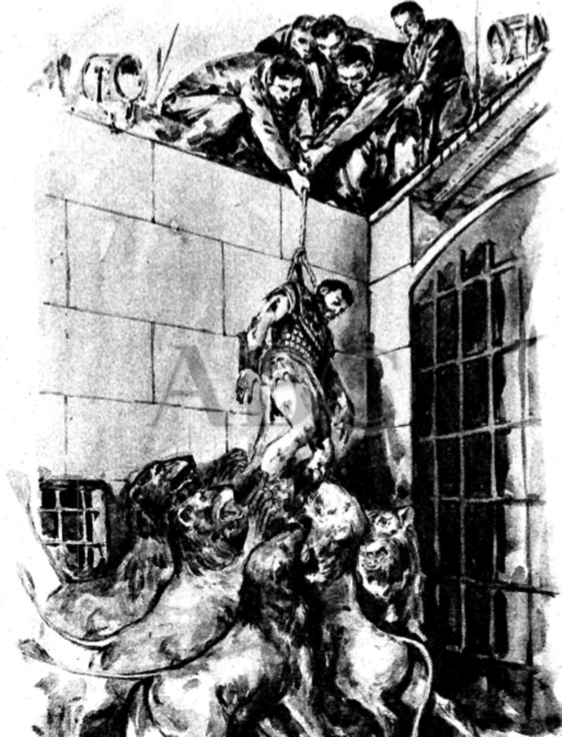 Dibujo de los sucedido en los instantes en que King era izado a salvo de la jauría.  ABC