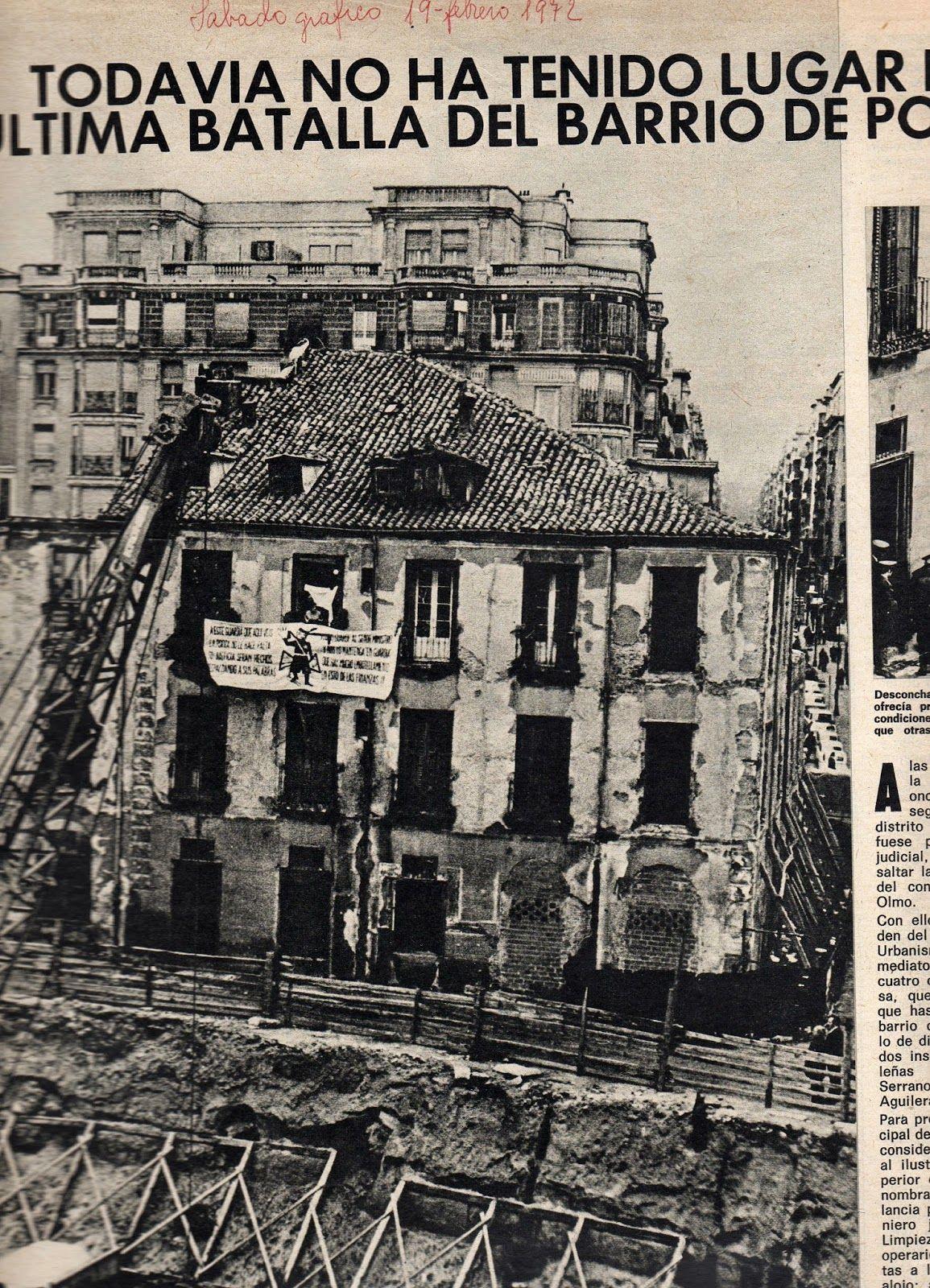Derribos y resistencia en el barrio de Pozas.  Sábado Gráfico  (19 de febrero de 1972)