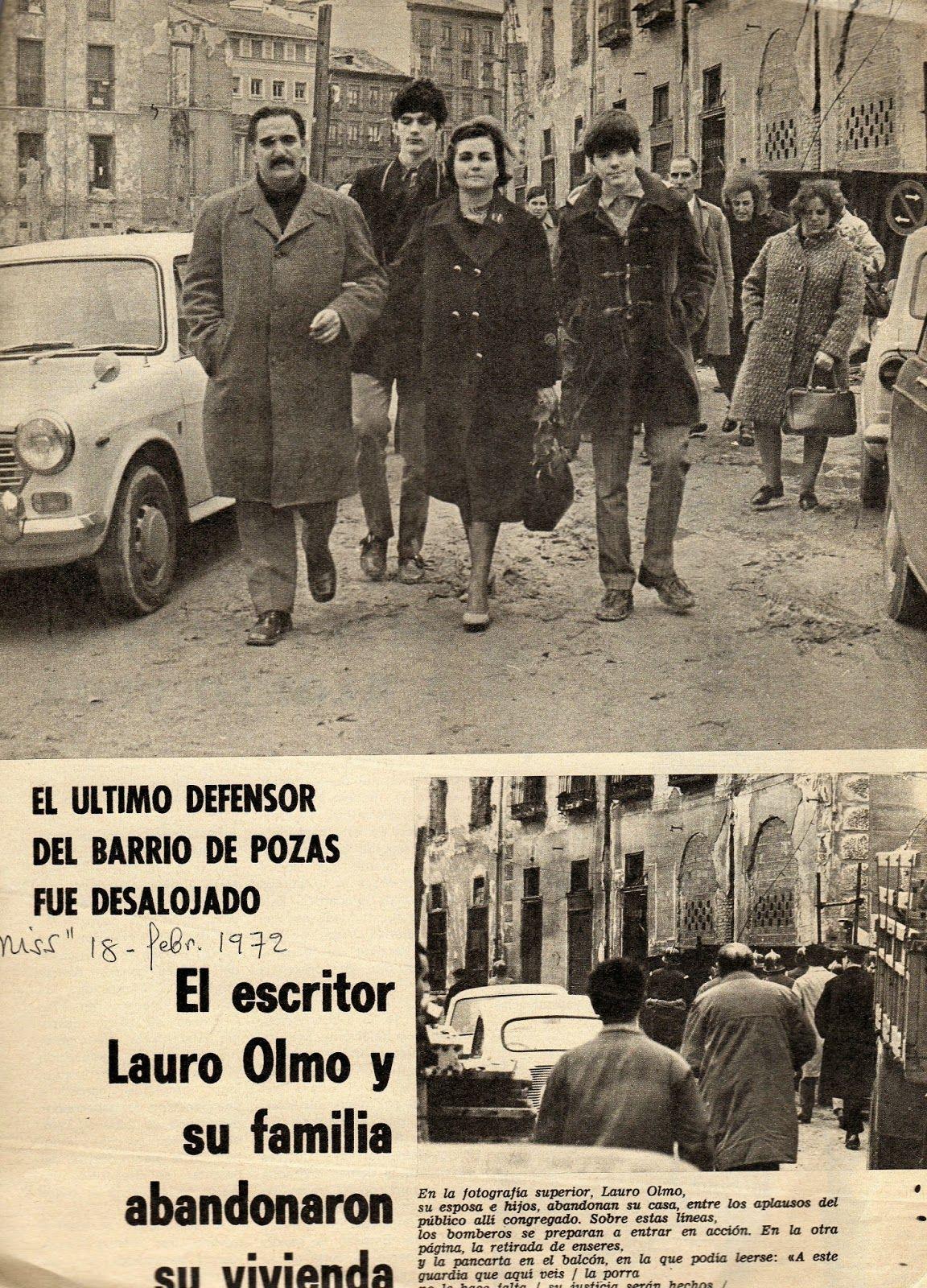 Lauro Olmo y su familia abandona su casa tras ser desalojados ( Triunfo , 19 de febrero de 1972)