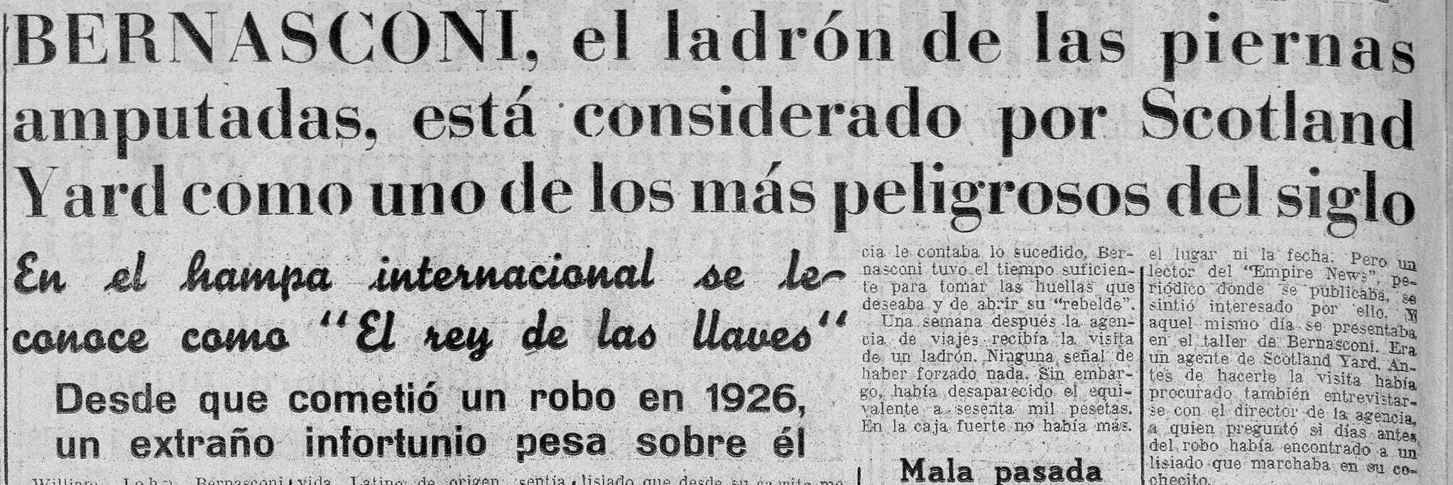 Bernasconi y la «maldición» ( Imperio , 28 de septiembre de 1957)