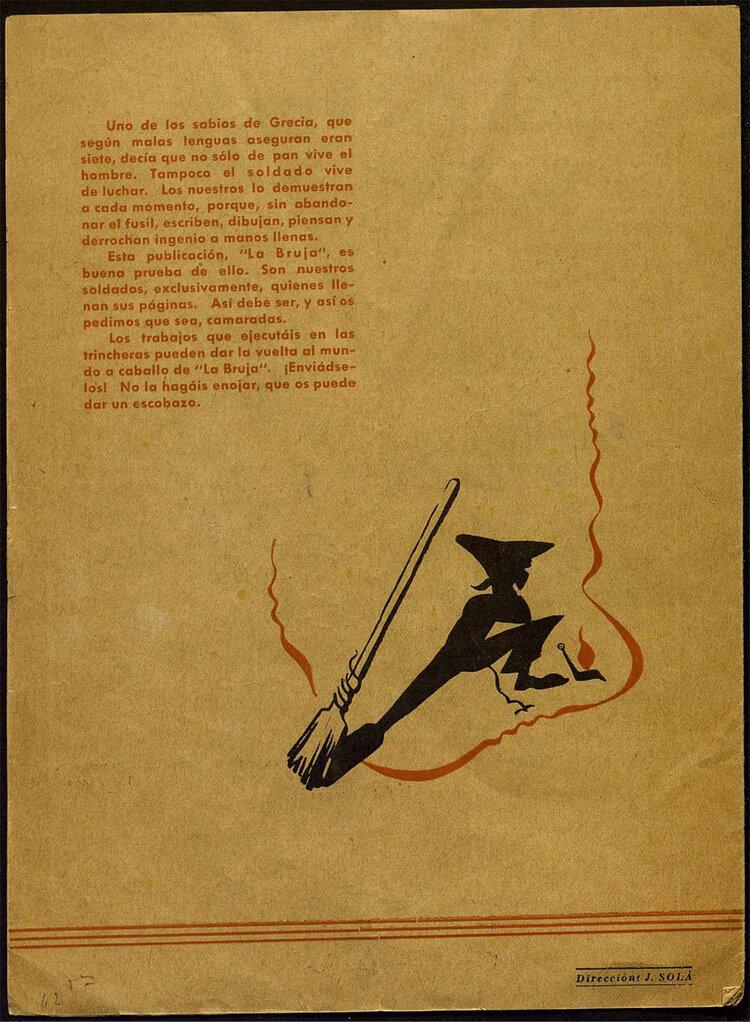 Contraportada de  La Bruja  (nº1, agosto de 1938)