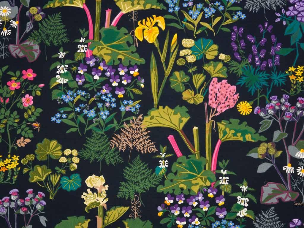 The kitchen curtain fabric: Rabarbar by Jobs Handtryck