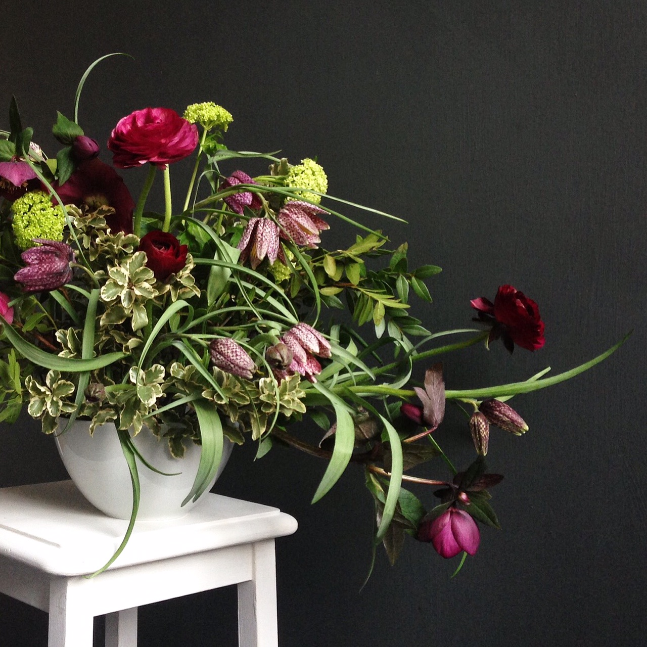 Ranunculus, Frittilaria and Hellebore/Photo: Hedgerow Florist