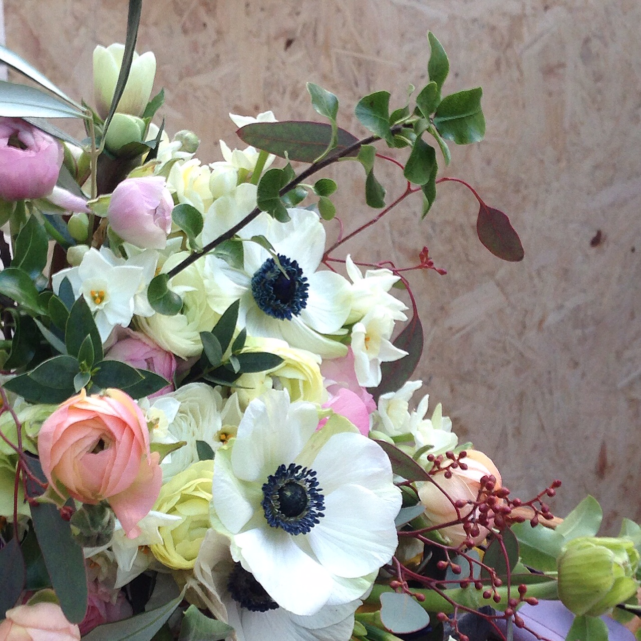 Paperwhite Narcissi, Hellebore and Tulips/Photo: Hedgerow Florist