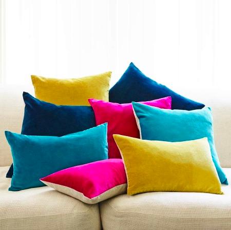Graham & Green velvet and linen cushions