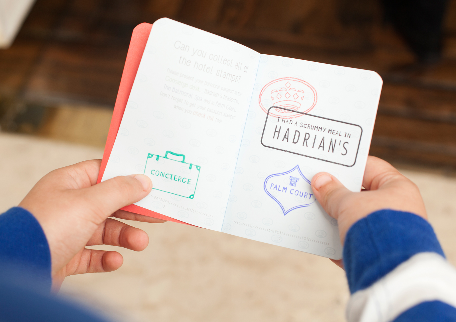 The kids' passport, and Sean's latest stamp from Hadrian's Brasserie