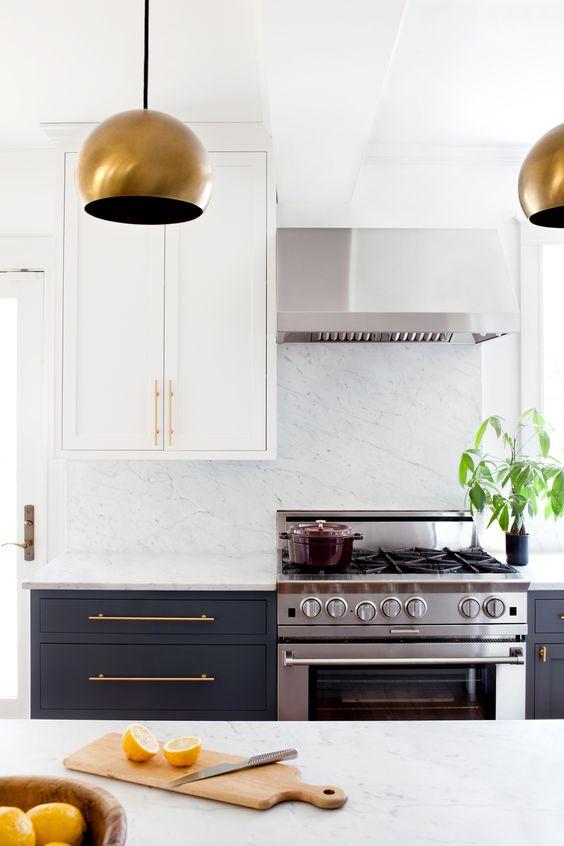 Pinterest inspo pic 2 - dark cabinets, brass handles, light wall cupboards/Photo: Jennifer Hughes, Design:  Elizabeth Lawson