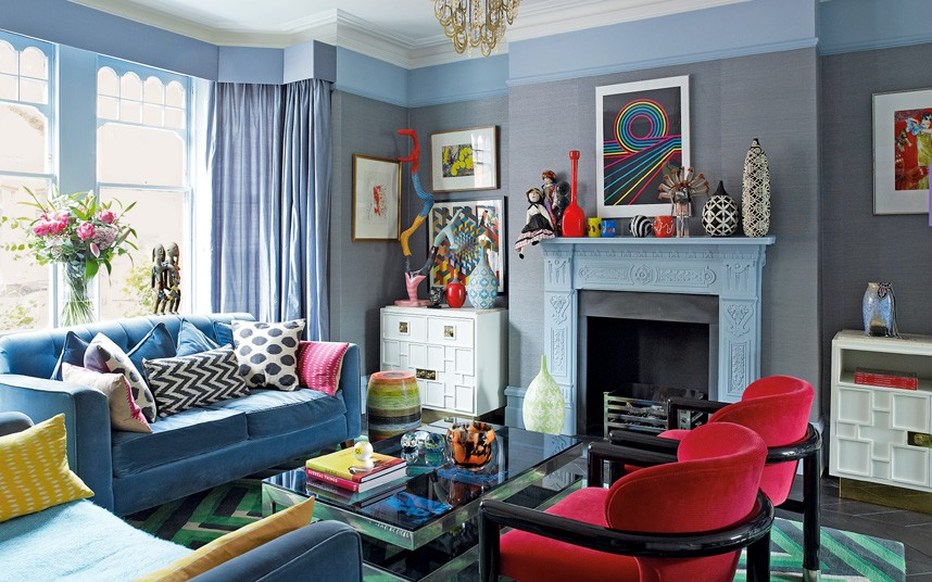 Jenny Packham's living room, with Berber cushions from Larusi/Photo:  The Telegraph