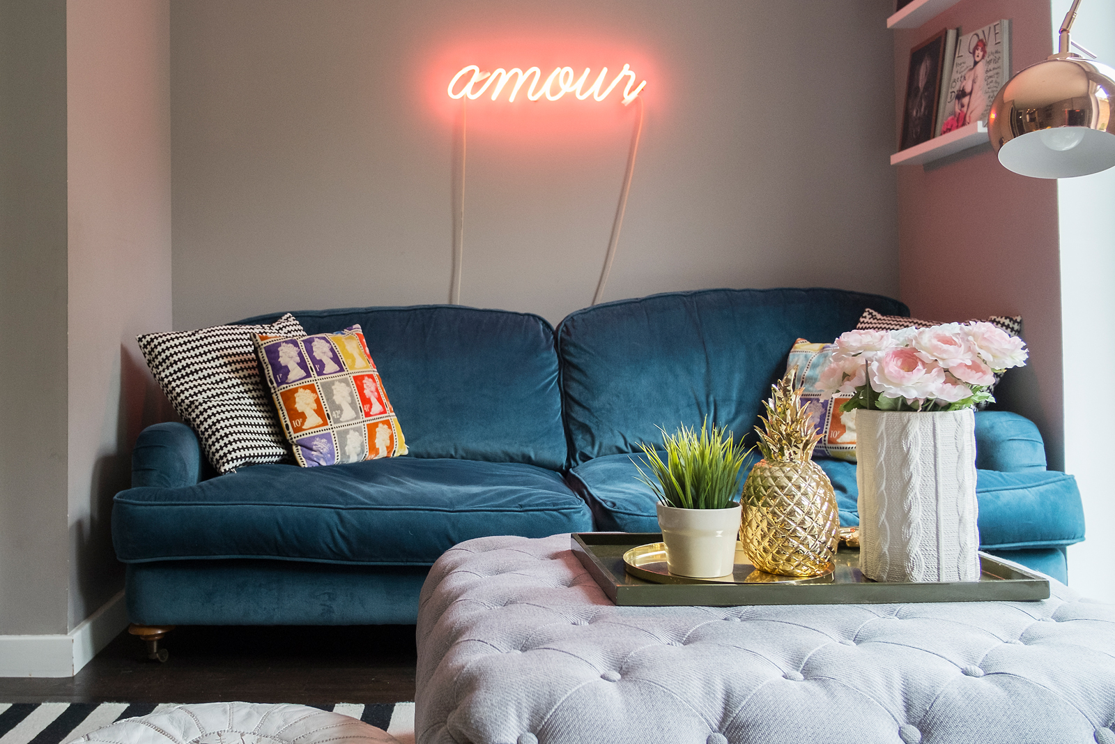 Emilie from Stella and the Stars' fabulous living room - pink neon forever